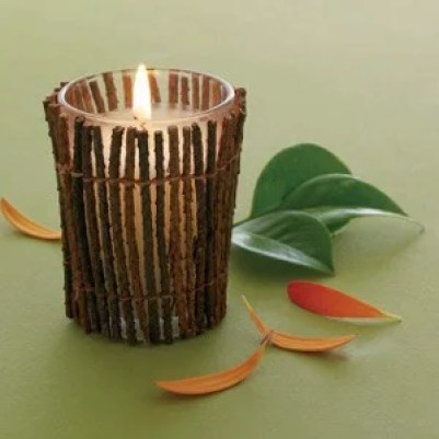 декорирование свечи деревянными ветками