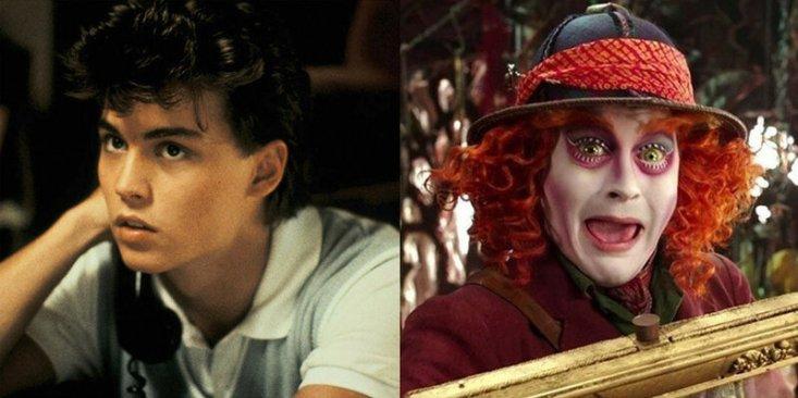 Джонни Депп: «Кошмар на улице Вязов» (1984) и «Алиса в Зазеркалье» (2016).