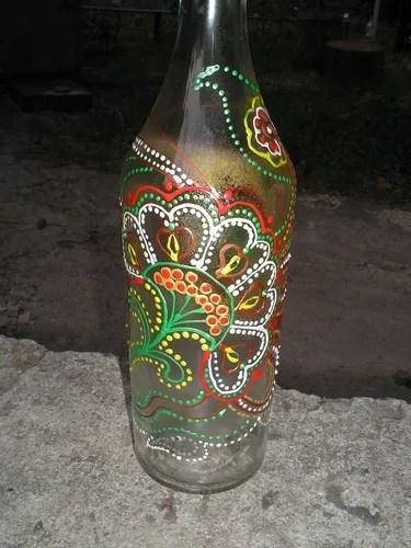 роспись бутылки контурами