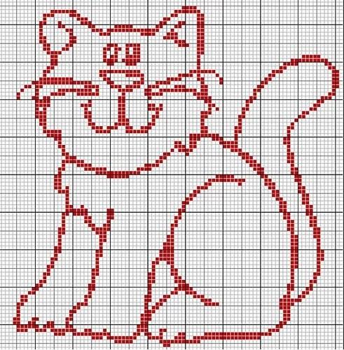 схема вышивки кошка