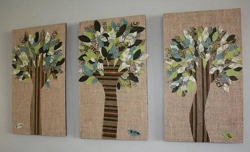 аппликация из ткани - дерево