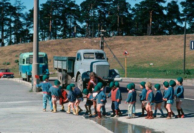 Nursery School Children Cross a Road