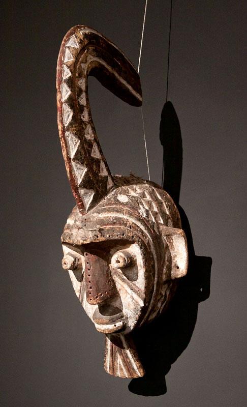 The mask of the secret society Sukomse depicting a woman Fulani people, Burkina Faso.