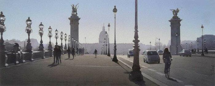 Утренний туман на мосту Александра III. Автор: Thierry Duval.
