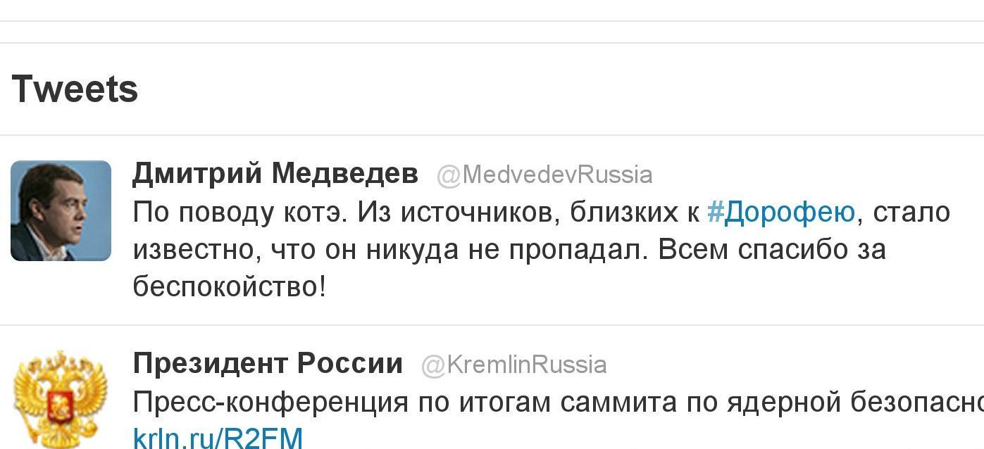 По поводу пропавшего кота Дорофея или твиттер президента Медведева опять удивляет