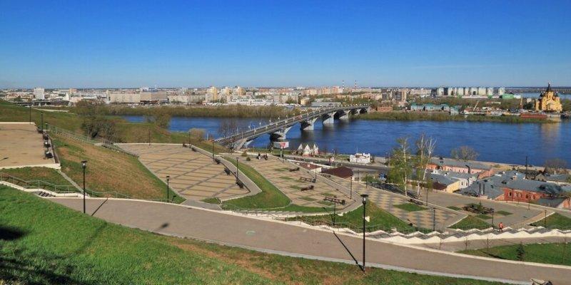 Вид на Оку и Канавинский мост с откоса на набережной Федоровского, Нижний Новгород