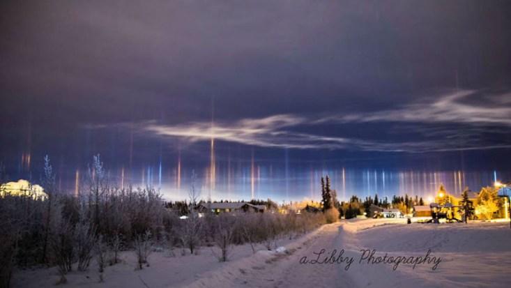 Световые столбы над Аляской