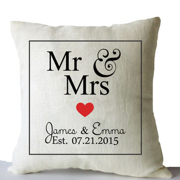 personalized wedding gift engagement gift anniversary gift throw pillow covers mr mrs est date pillow linen pillowcases sofa cushion 16x16