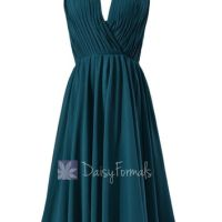 Short Peacock Teal Bridesmaid Dress,Dark from daisyformals.com