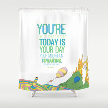your mountain is waiting dr seuss oh the places you ll go shower curtain by studiomarshallarts