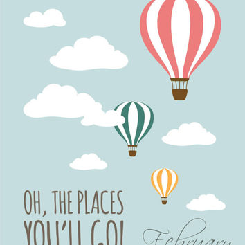 oh the places you ll go set of 2 8x10 dr seuss hot air balloon instant download digital printable nursery decor wall art poster print