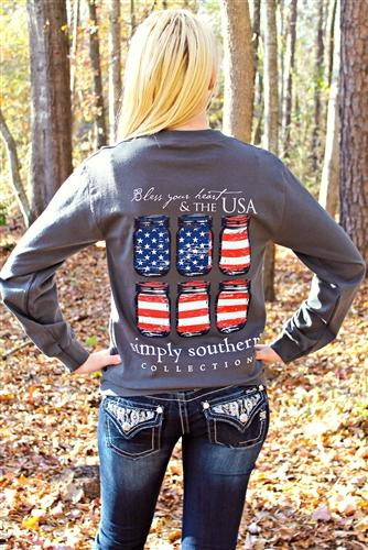 Preppy Long Sleeve USA Tee from Southern Fried Chics