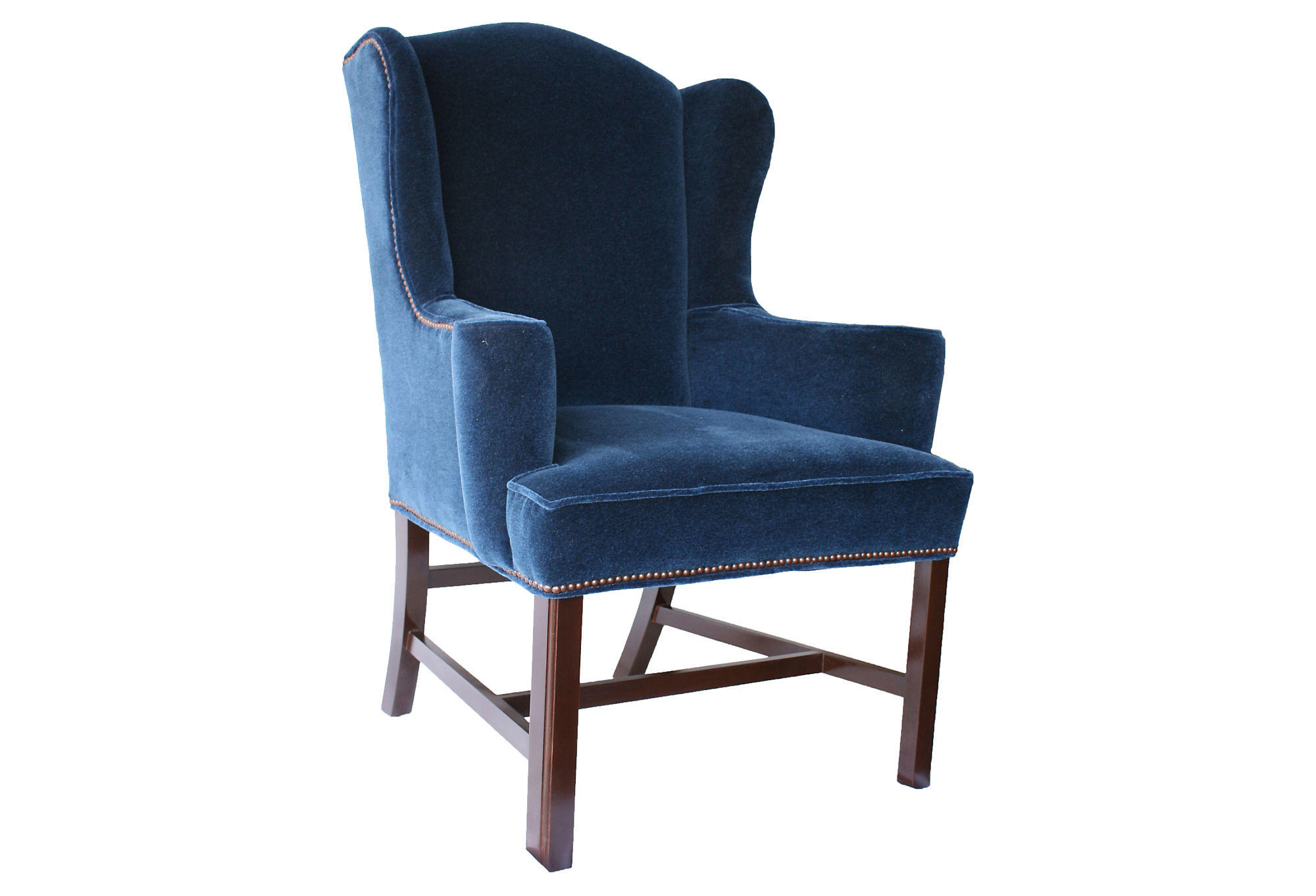 Blue Velvet Wingback Chair Barclay Butera Hudson Velvet Wingback From One Kings Lane