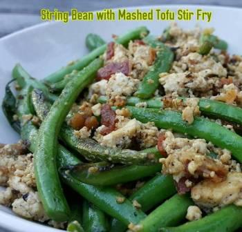 String Bean with Mashed Tofu Stir Fry