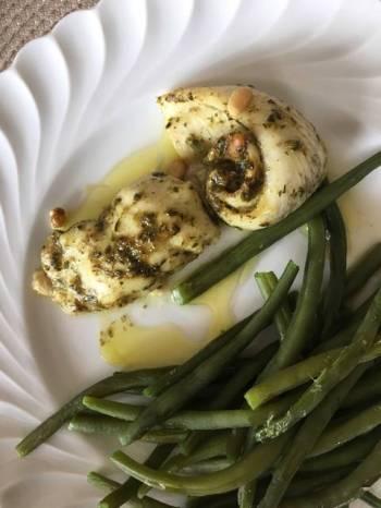 Sole filet with pesto