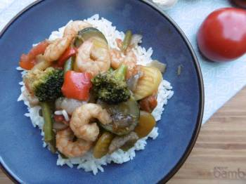 Stir – Fry Shrimps & Veggies with Rice (Laxanika me Garides kai Ryzi)