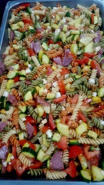 Pasta salad with feta cheese and salami
