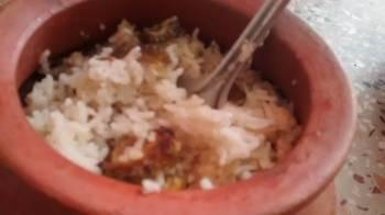 Bitter Gourd rice in a pot.  (Diabetic vegan) L.N.S.
