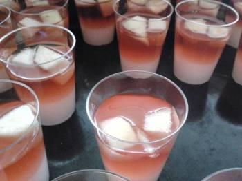 Whipped cream and sangria jello shots
