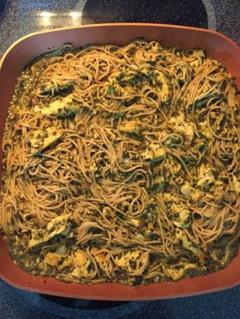Pesto Chicken Spaghetti
