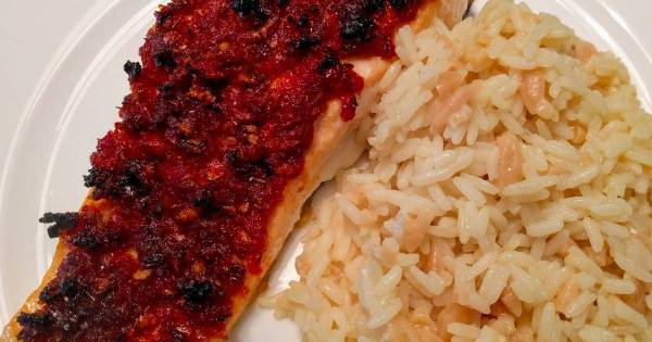 Salmon with SunDried Tomatoes and Garlic Recipe by