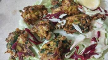 Cabbage,spinach n onion pakoda