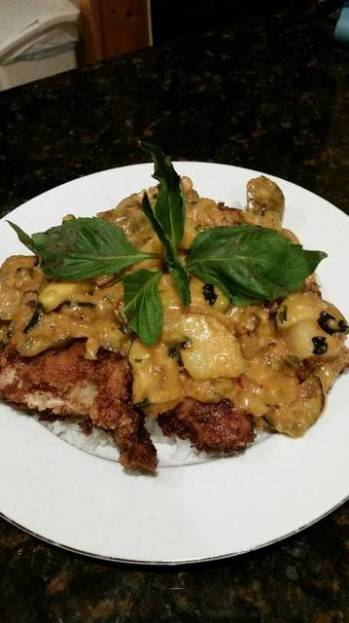 Brad's fried chicken with thai panang curry sauce