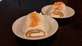 Carrot Cake Roll with Whipped Cinnamon Cream Cheese Filling and Frosting