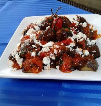 Mini Eggplants with Tomato Feta Sauce