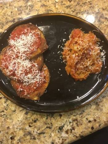 Vegetarian Eggplant Parmigiana With A Side Of Spaghetti Squash Noodles