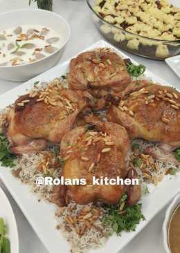 طريقة عمل دجاج محشي ارز بالفرن منال العالم 194 وصفة دجاج