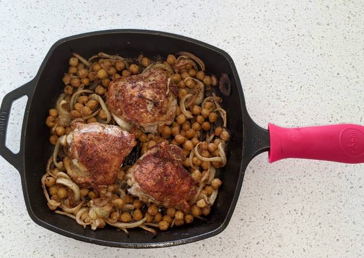 Chicken thighs with chickpeas