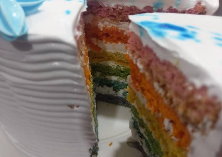 #Eggless Rainbow Cake#