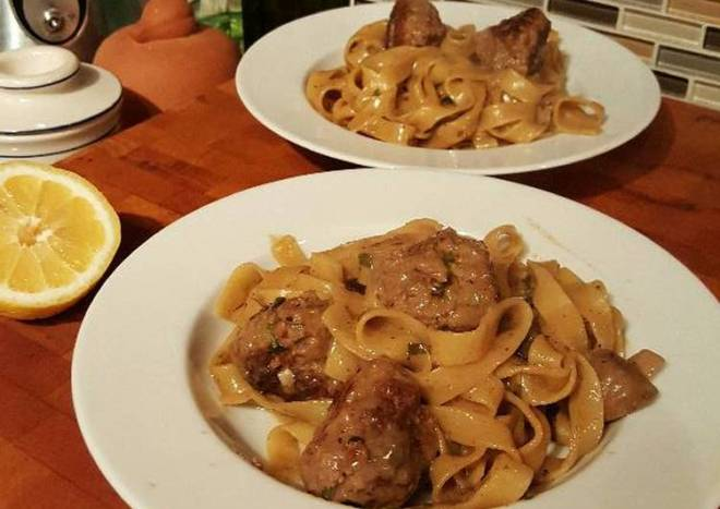 Swedish Meatballs and Egg Noodles in a Creamy Sauce