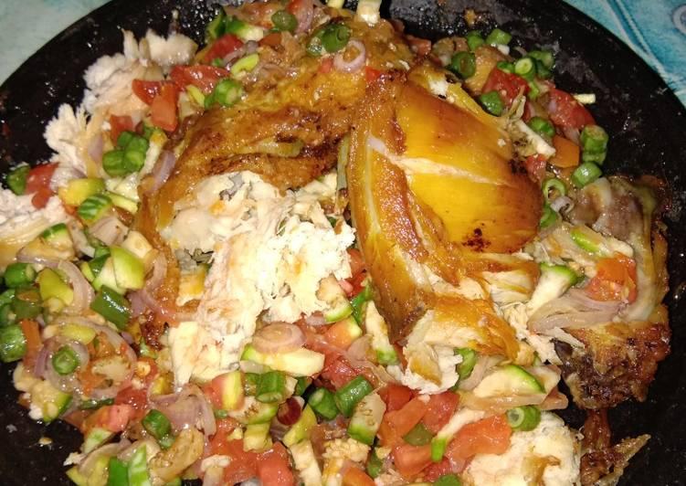 Ayam penyet with sambal beberuk
