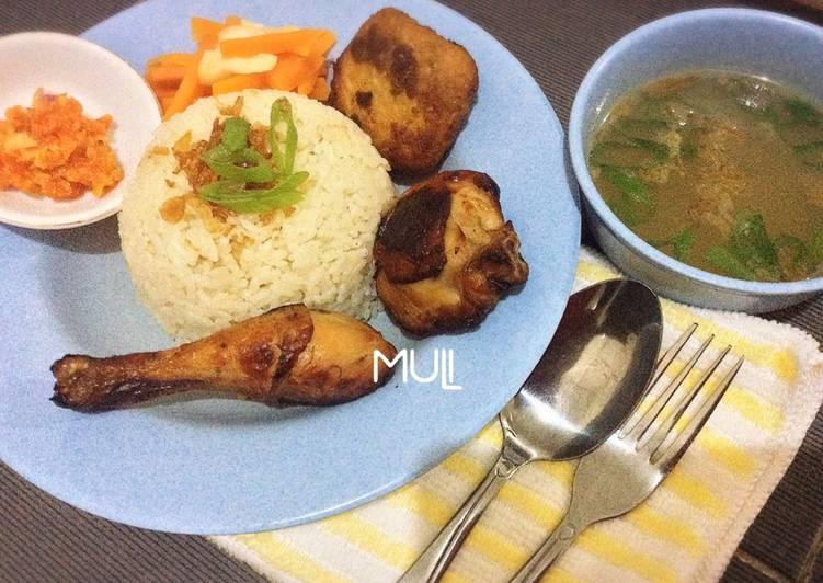 Nasi ayam / nasi hainam / chicken rice dengan ayam madu