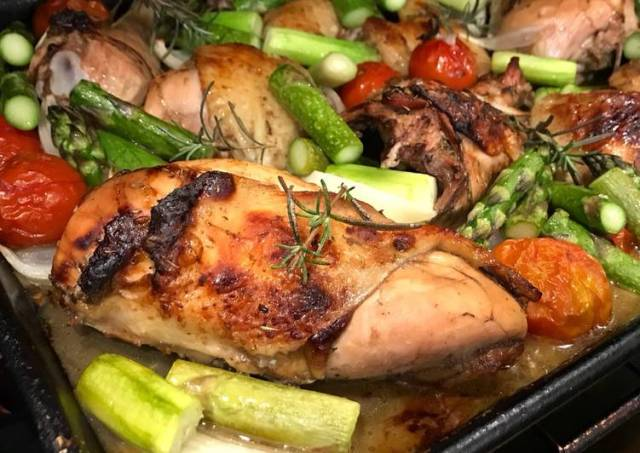 Sheet Pan Roast Balsamic Chicken with Tomatoes, Onions & Asparagus