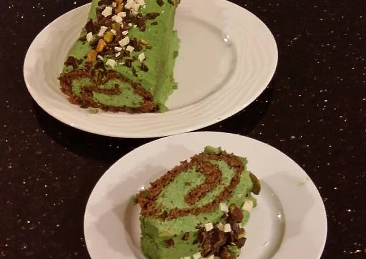 Chocolate Cake Roll with Pistachio Cream Filling and Frosting