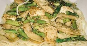 Jerusalem Chicken, Grilled Artichoke Hearts, Asparagus On Top Of Angel Hair Pasta