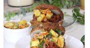 BBQ jackfruit sandwich with pineapple slaw