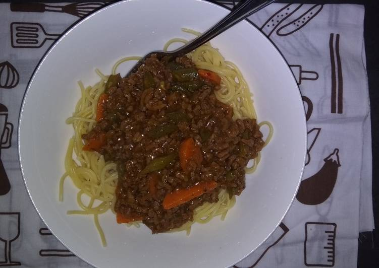 Quick meal Spaghetti and Mince