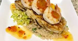 Grilled Halibut And Shrimp Kumquat Chutney, Shaved Brussels Sprouts,And Quinoa