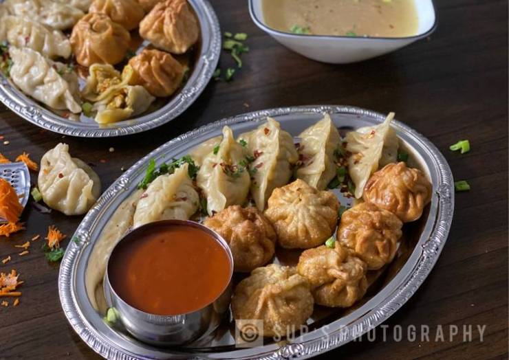 Steamed & Fried Chicken Momos (Dumplings)