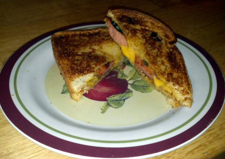 Grilled cheese hot dog sandwich