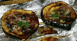 Sweet & Fruity Blueberry-Plum Baked Acorn Squash