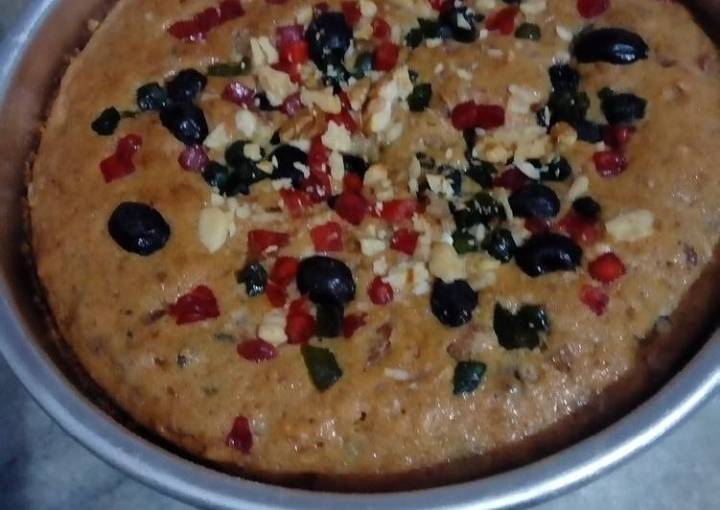 Egg less Fruits and nuts cake