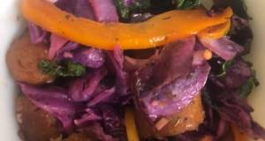 Sautéed Purple Cabbage & Kale With Hot Italian Vegan Sausage & Bell Peppers