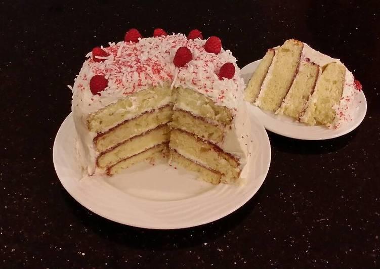 Vanilla Lemon Raspberry Layer Cake with Whipped Cream Buttercream Frosting