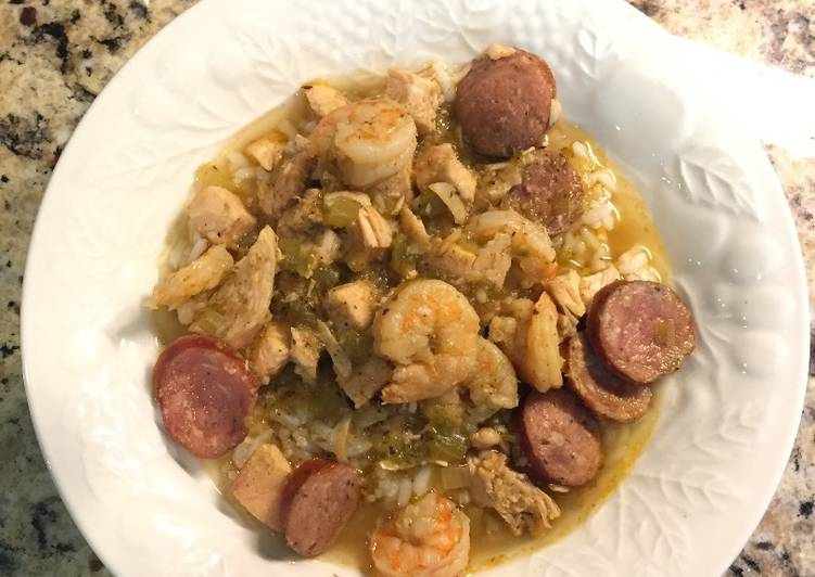 Jambalaya with Andouille Sausage, Grilled Chicken and Shrimp
