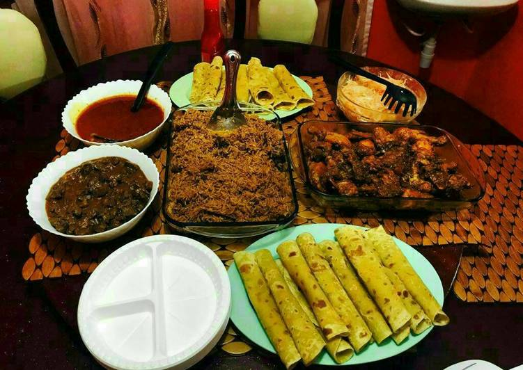 Chapati, Pilau, Deep Fried Chicken, Fried Liver, Tomato Soup